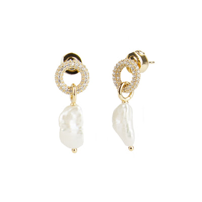 River<br/> Pave Ring Keshi Pearl Drop Earring