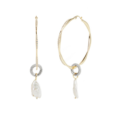 River<br/> Wavy Hoop Pearl Drop Earring