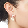 Eden<br/> Rose Quartz and Keshi Pearl Drop Earring
