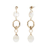 Cleo <br/>Fresh Water Pearl and Agate Linear Earring