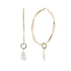 River<br/> Large Wavy Hoop Pearl Drop Earring