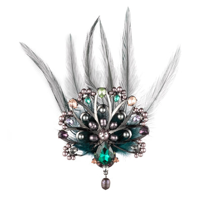 Fashionably Late<br/> Stone Peacock Pin