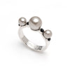 Dita<br/> Silver Pearls and Jet Stone Ring
