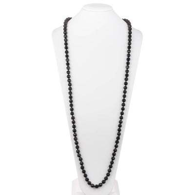 "Jet Crystal</br> 72"" 10mm Rope Necklace"