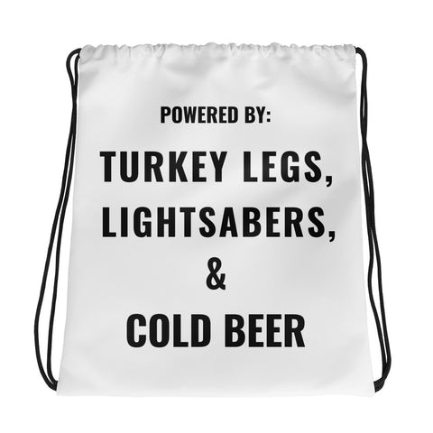 Turkey Legs, Lightsabers & Cold Beer Drawstring bag