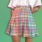 Gradient Color Plaid Skirt  - For Aesthetics Clothes Lovers
