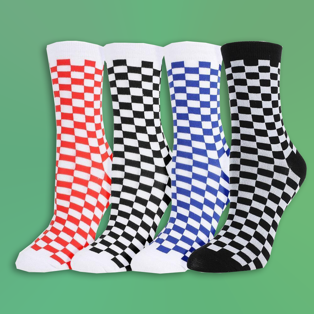Bluestone Checkered Socks - For Aesthetics and Grunge Lovers
