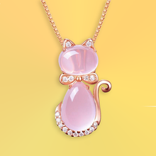 Load image into Gallery viewer, Pink Kitten Necklace - For Cats and Fashion Lovers