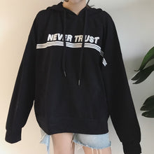 "Load image into Gallery viewer, ""Never trust"" hoodie"