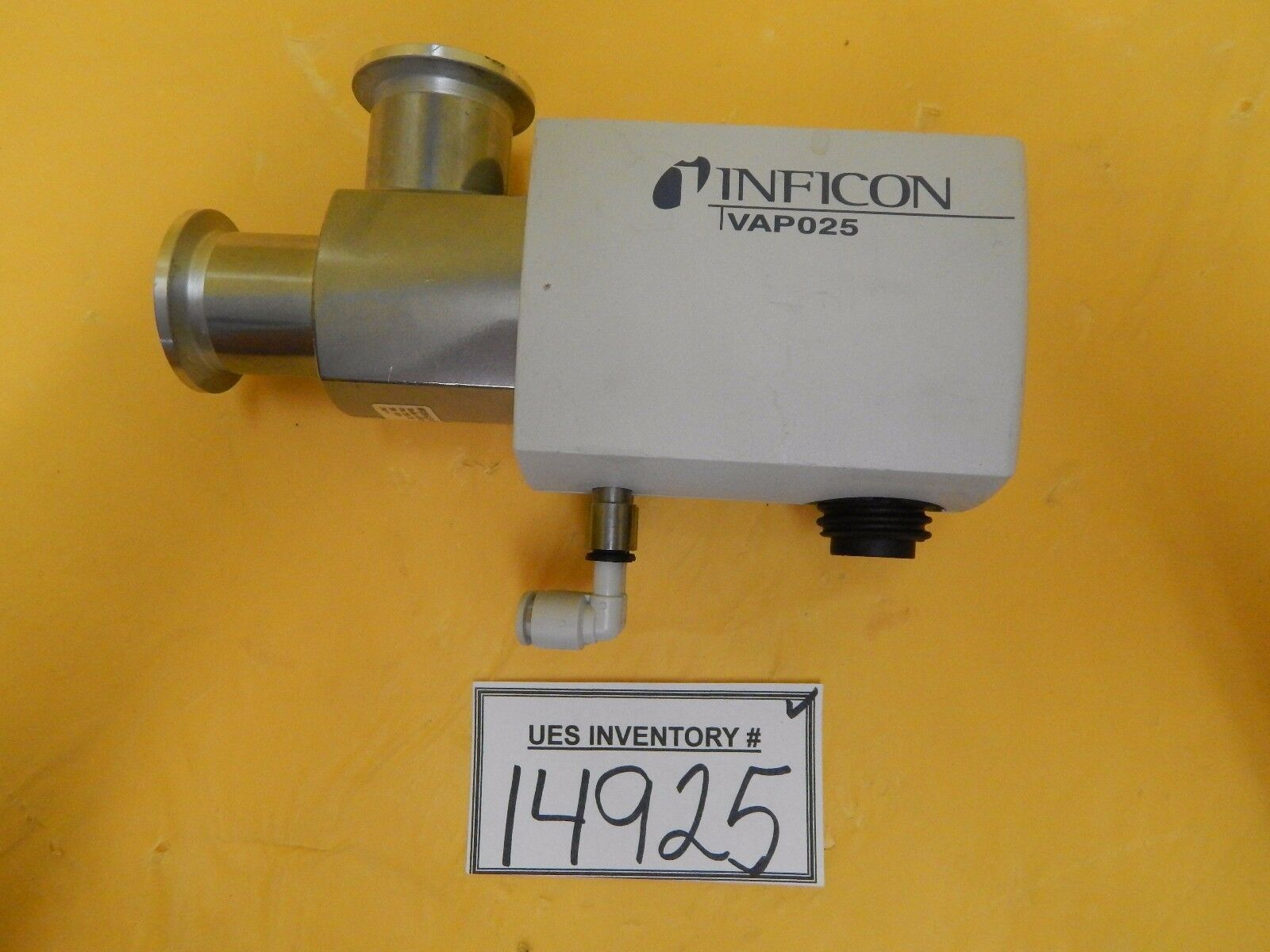 Inficon 250-220 Pneumatic Vacuum Angle Valve VAP025-A Used Working