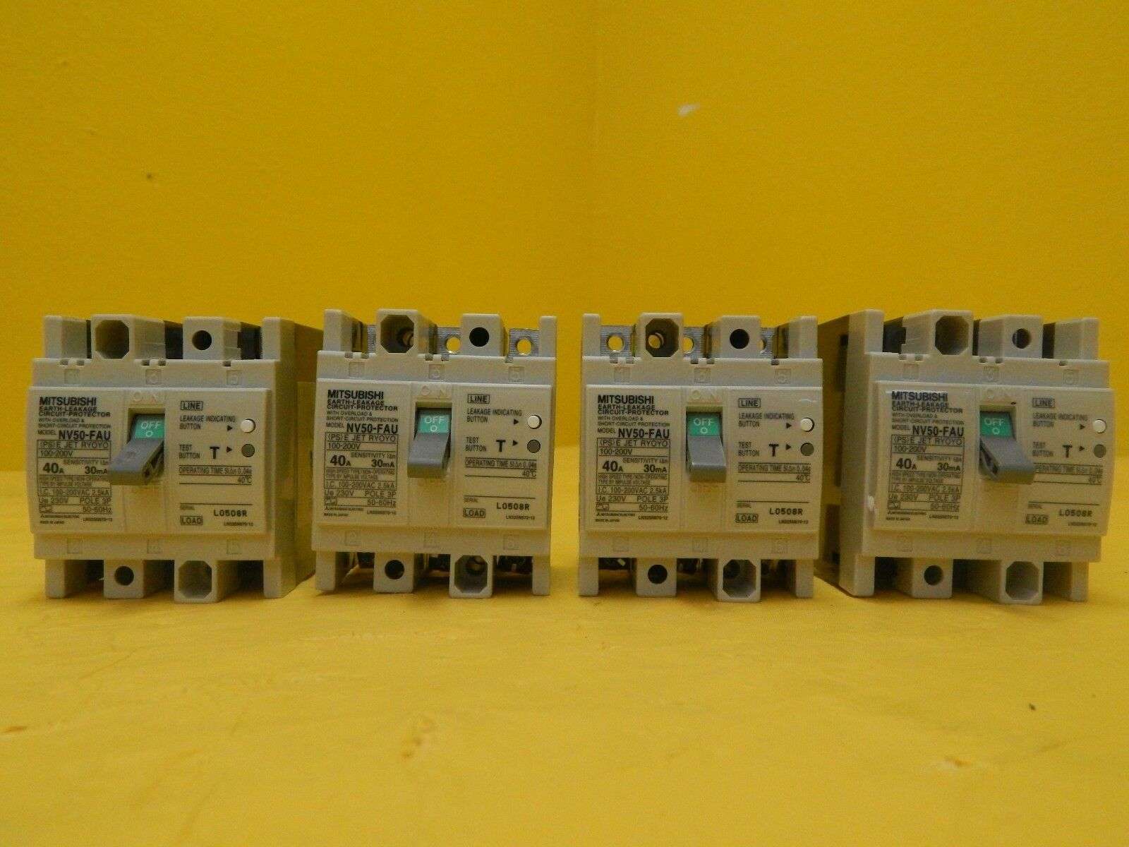 Mitsubishi NV50-FAU 40A No-Fuse Circuit Breaker Reseller Lot of 4 Used Working
