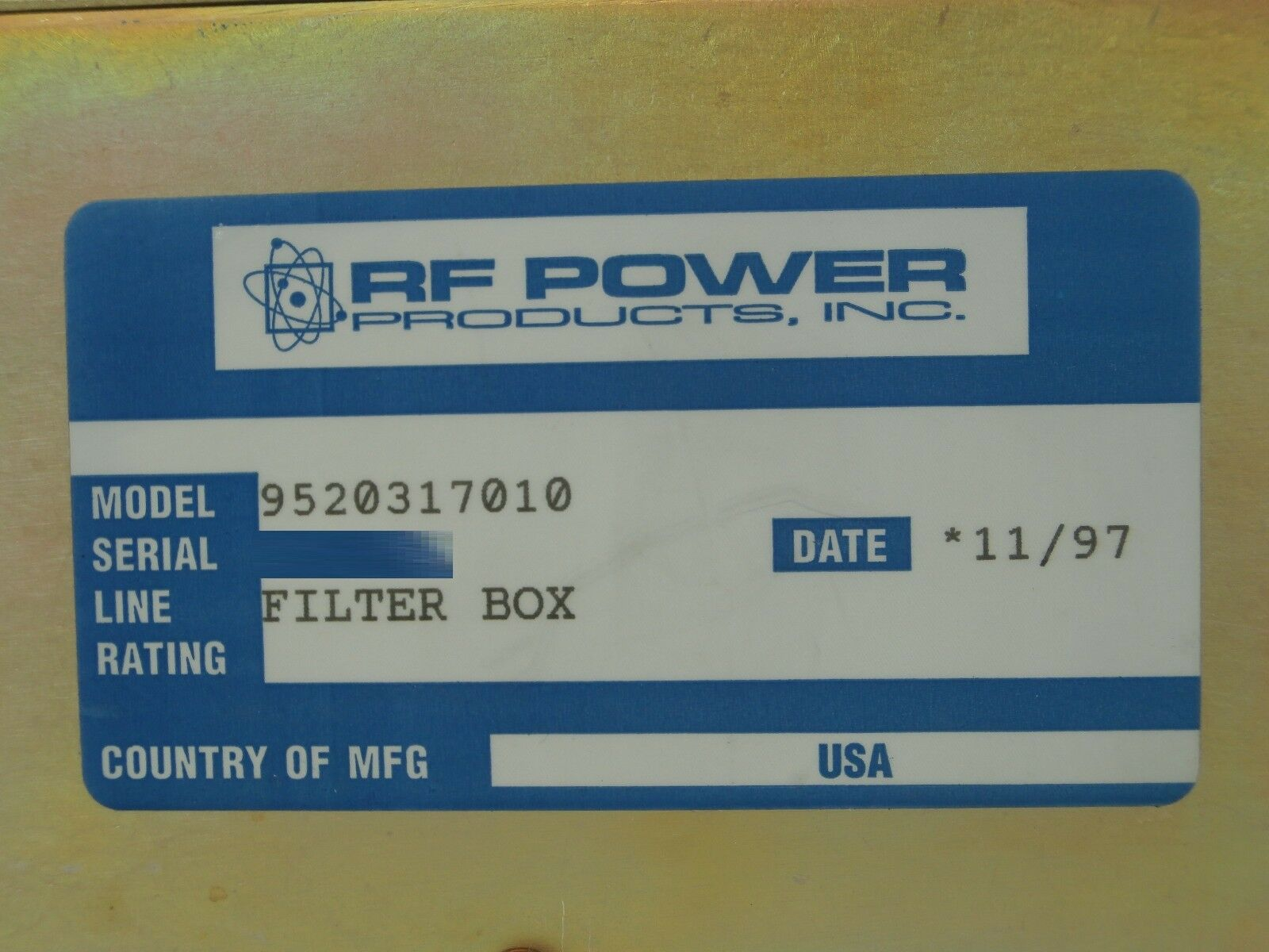 RFPP RF Power Products 9520317010 RF Filter Box Used Working