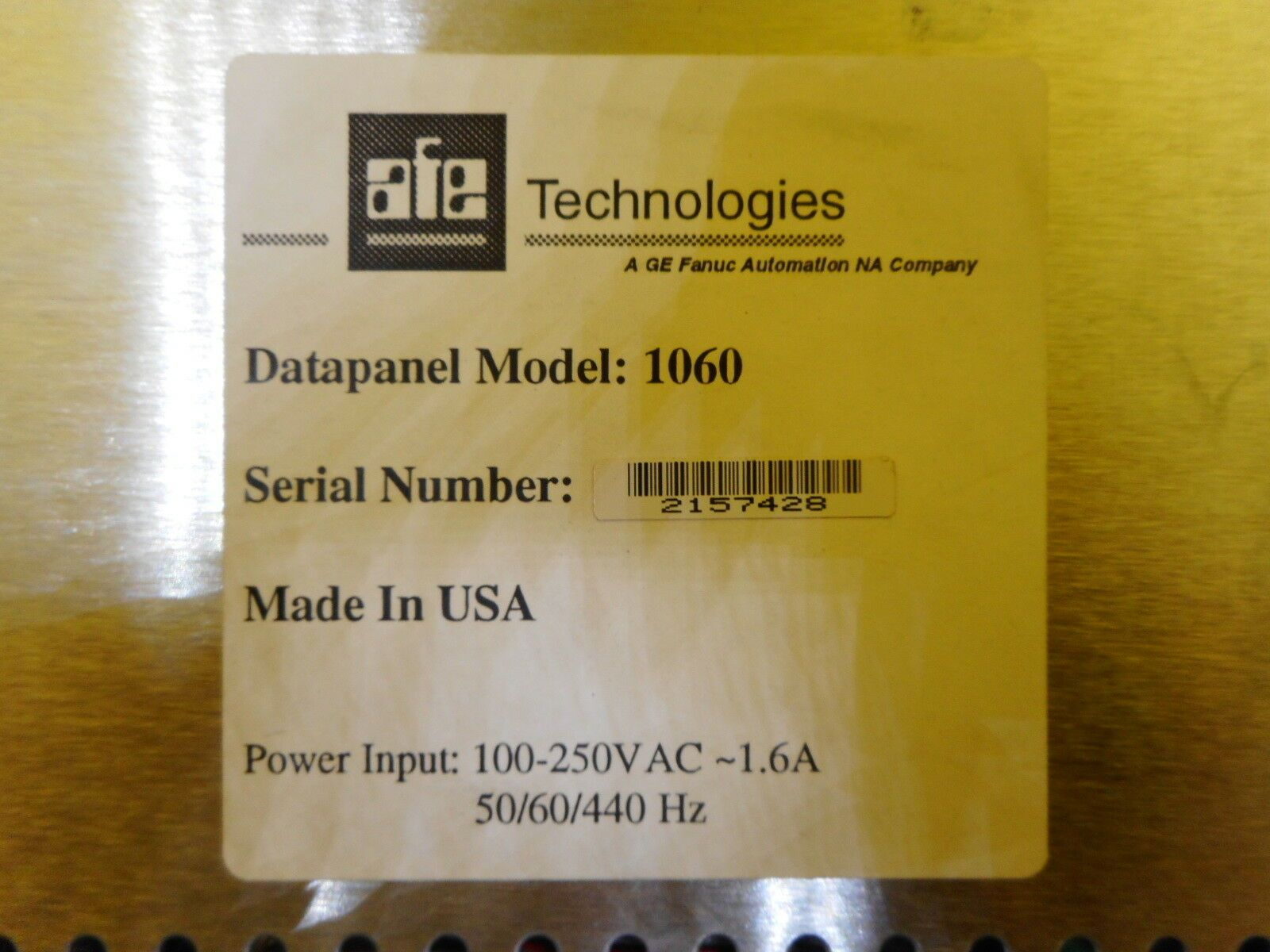 AFE Technologies 1060 Datapanel Interface Touch Screen Used Working