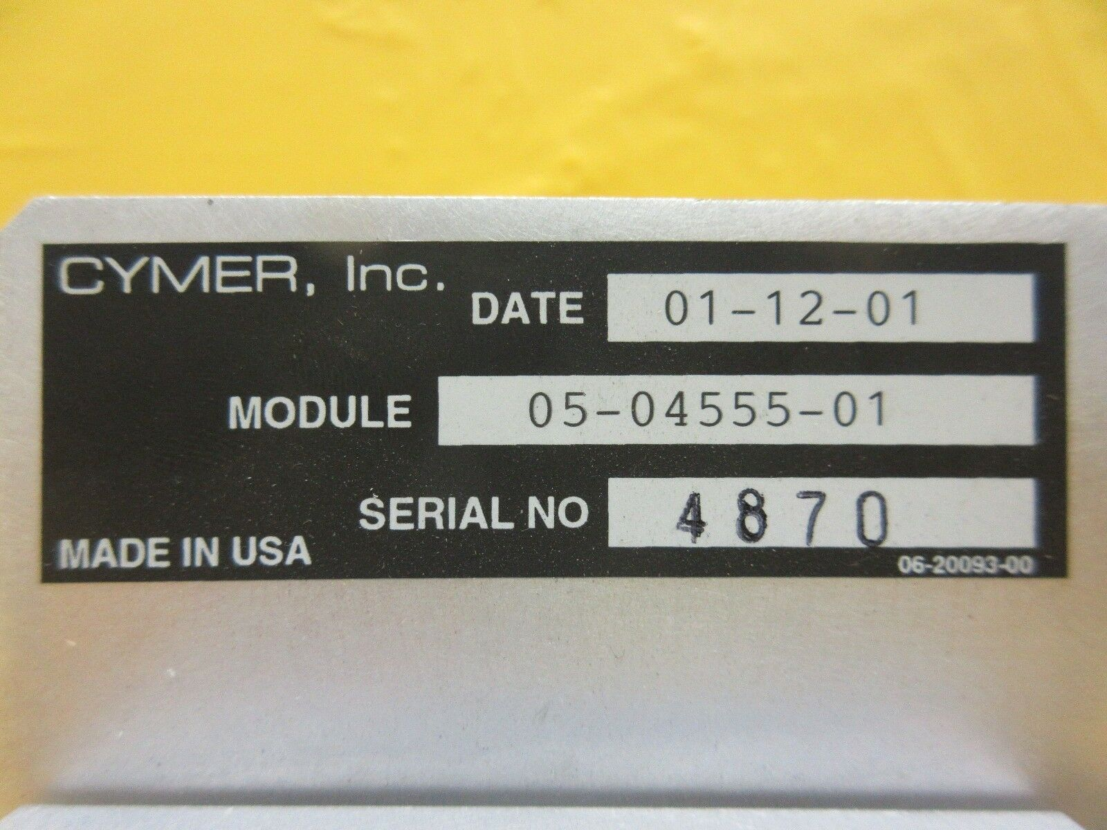 Cymer 05-04555-01 Chamber Adjustment Panel ELS-6400 Laser System Used Working