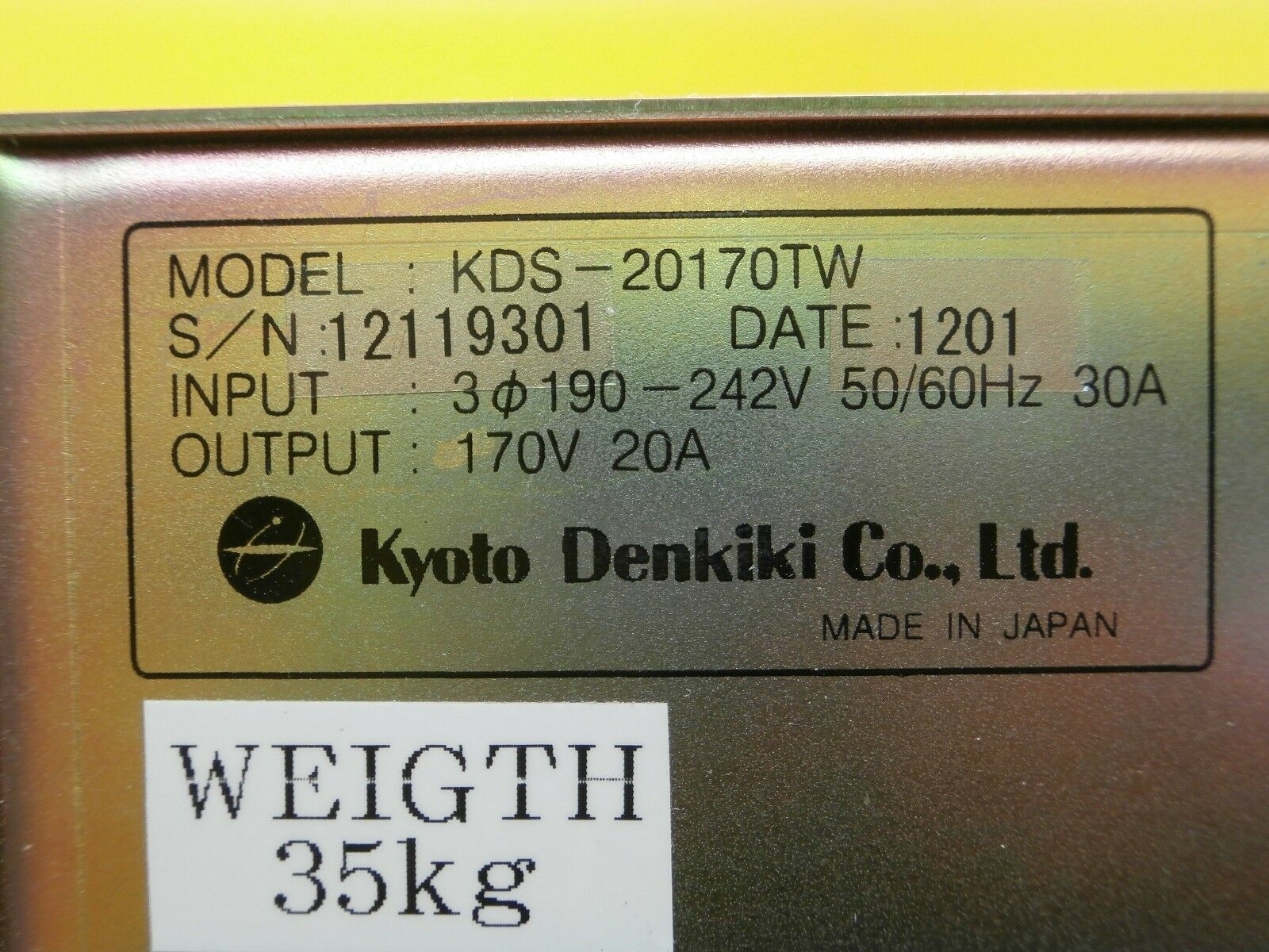 Kyoto Denkiki KDS-20170TW High Voltage Dual Output Power Supply Used Working
