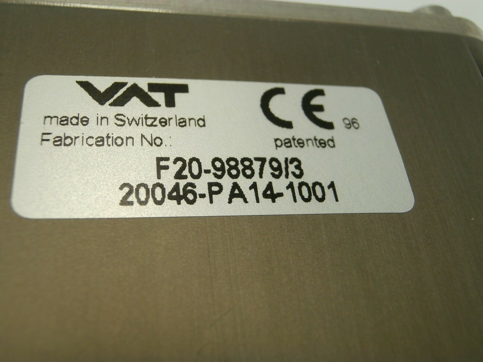 VAT 20046-PA14-1001 Vatterfly Valve Series 200 Used Working