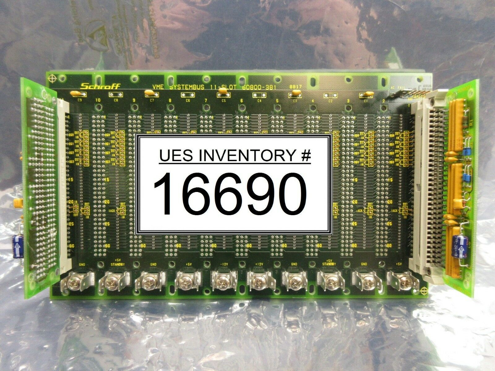 Schroff 60800-381 VME 11-Slot Backplane Board PCB with 60800-370 Ultratech 4700