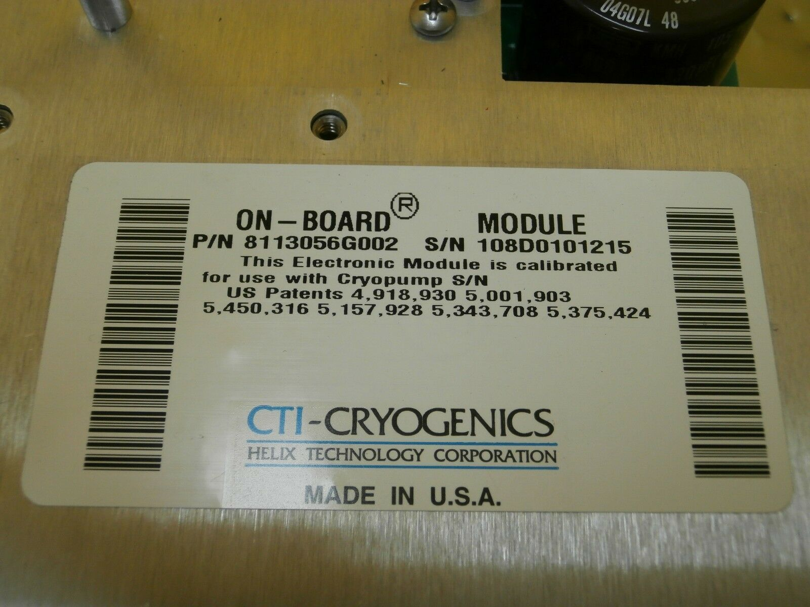 Helix Technology 8127213G001 Power Board PCB CTI-Cryogenics 8113056G001 Used