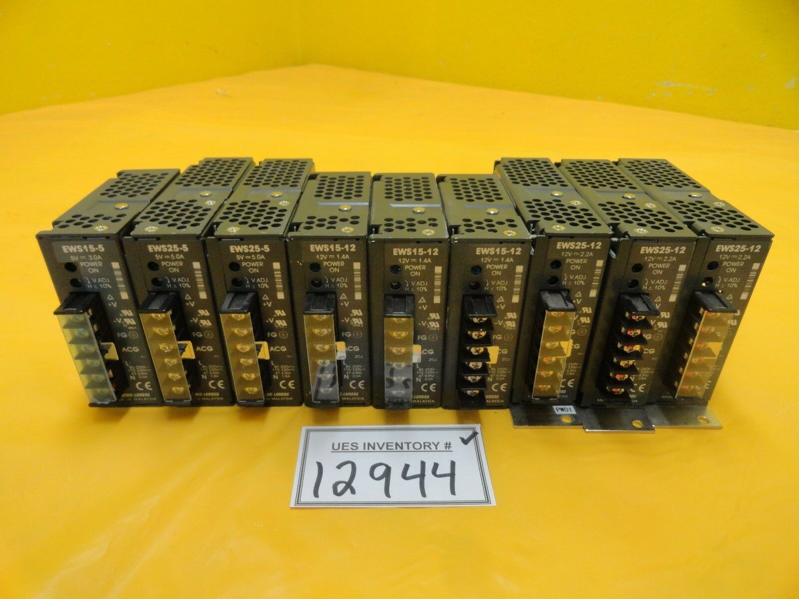 Nemic-Lambda EWS25-12 DC Power Supply EWS25-5 EWS15-12 EWS15-5 Lot of 9 Used