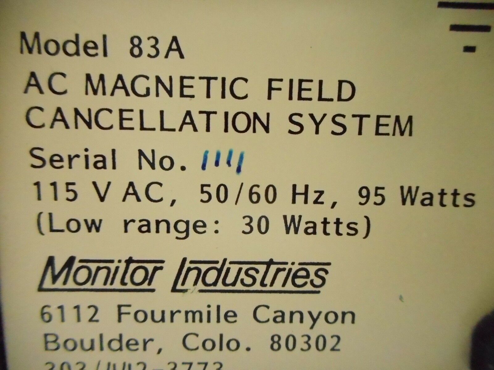 Monitor Industries Model 83A AC Magnetic Field Cancellation System Used
