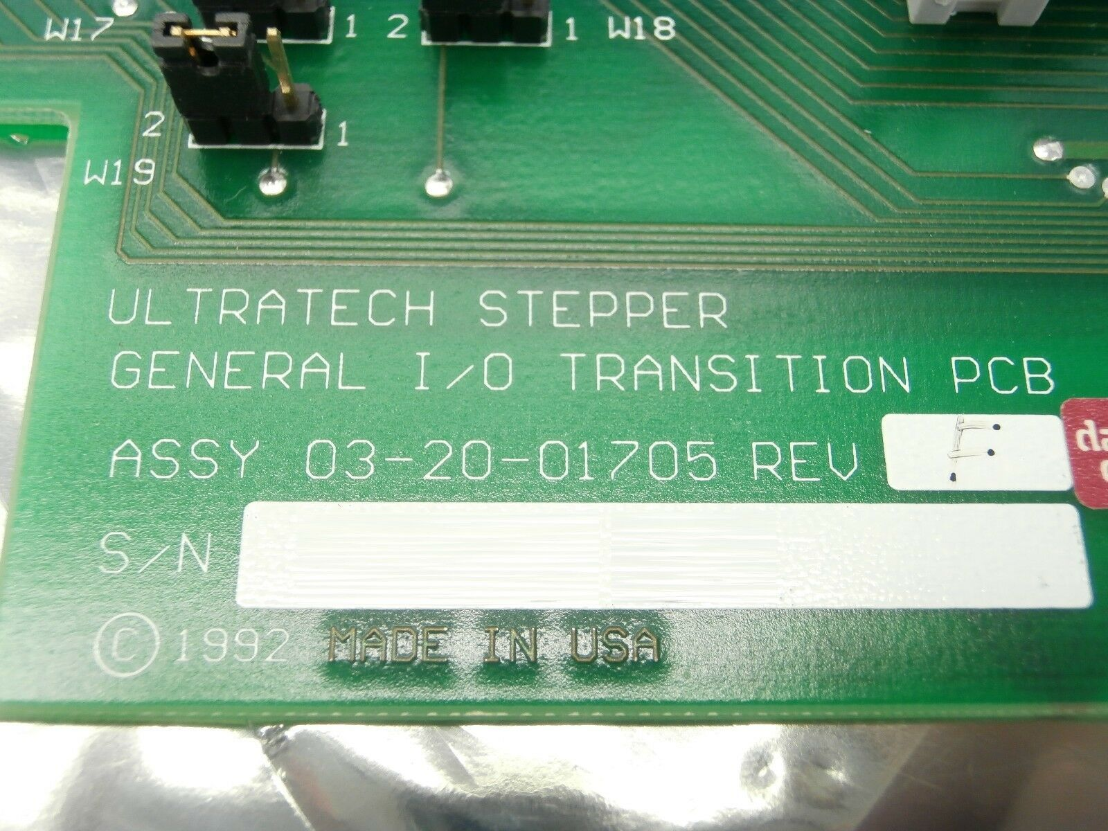 Ultratech Stepper 03-20-01705 General Transition PCB Card GEN I/O 2 Titan Used