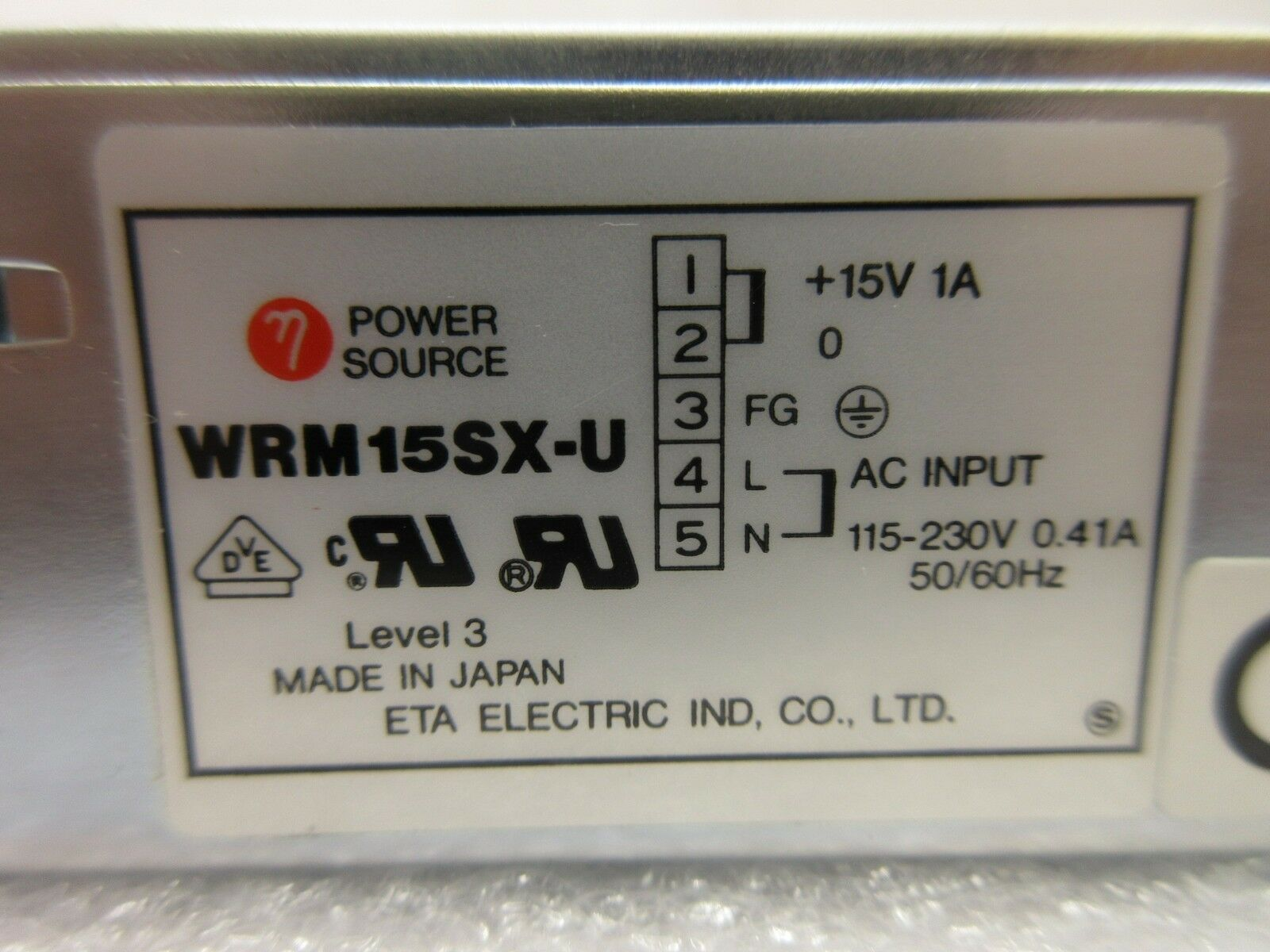 ETA Electric WRM15SX-U Power Source Nikon NSR System Used Working