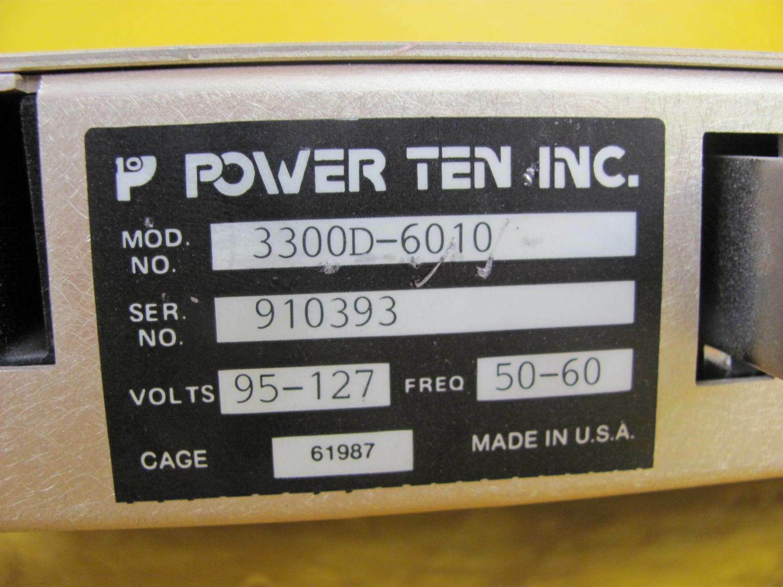 Power Ten 3300D-6010 DC Power Supply 3300 Series Used Working