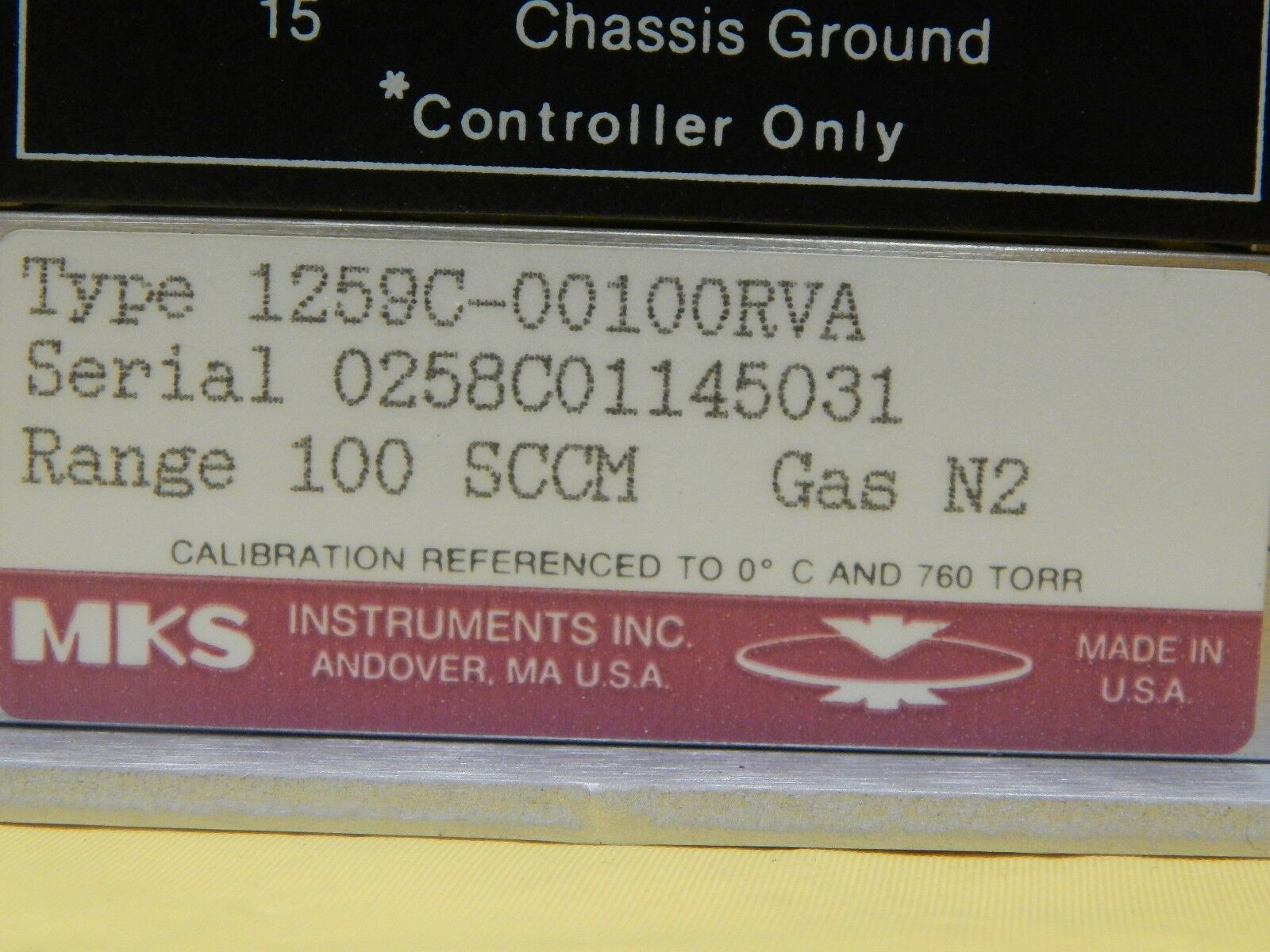 MKS Instruments 1259C-00100RVA Mass Flow Controller Assembly 3E1 81 Used Working