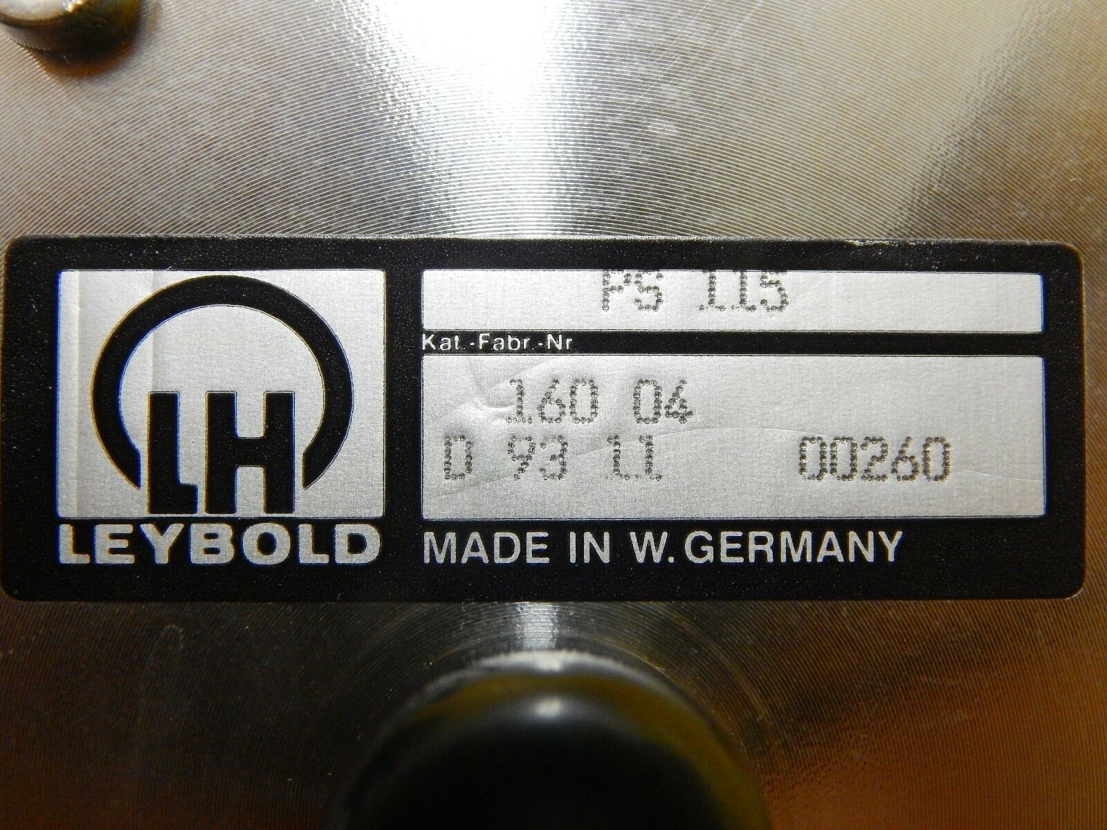 Leybold 160 04 Vacuum Pressure Switch PS 115 Used Working