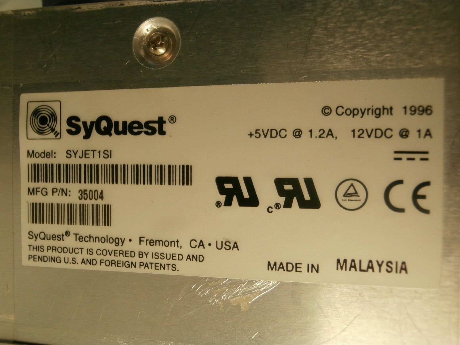 SyQuest 35004 SCSI Backup Drive 1.5GB SYJET1SI Ultratech Stepper Titan 4700 Used
