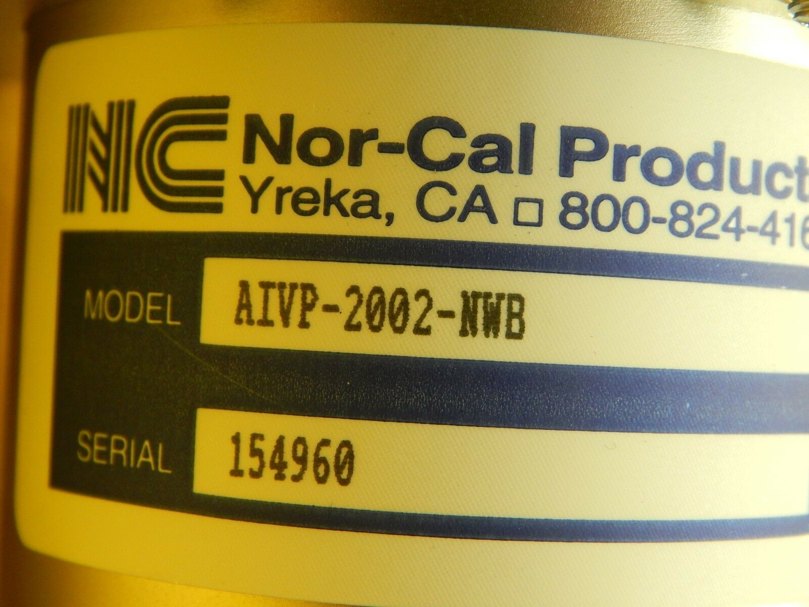 Nor-Cal Products AIVP-2002-NWB Pneumatic Angle In-Line Used Working