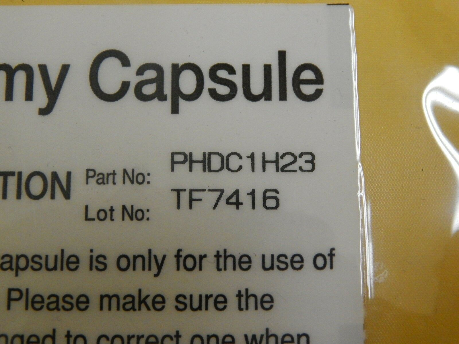 Pall PHDC1H23 PhotoKleen Photoresist Filter Dummy Capsule Used Working