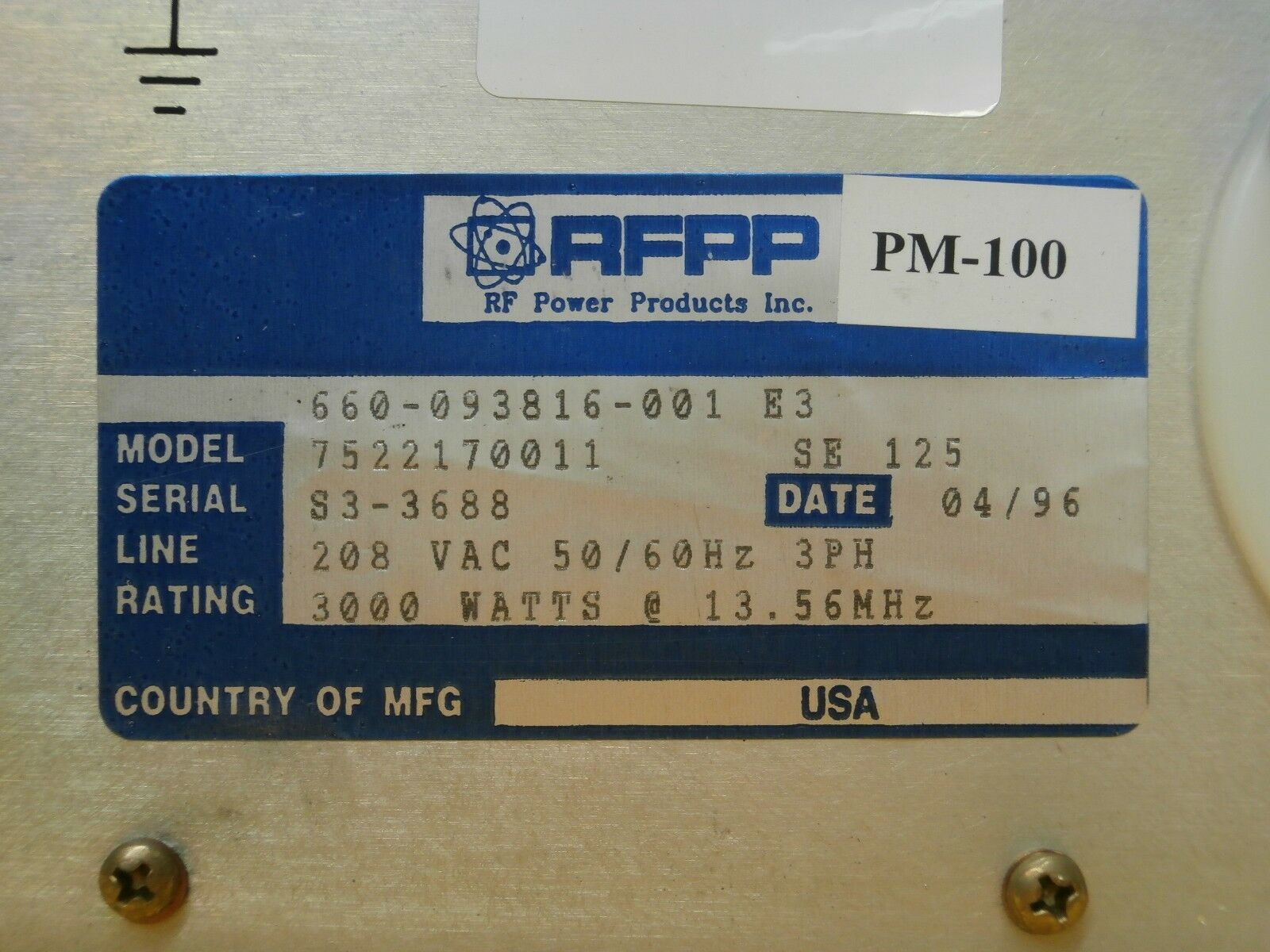 RF20H RF Power Products 660-093816-001 Generator 7522170011 Used Tested Working