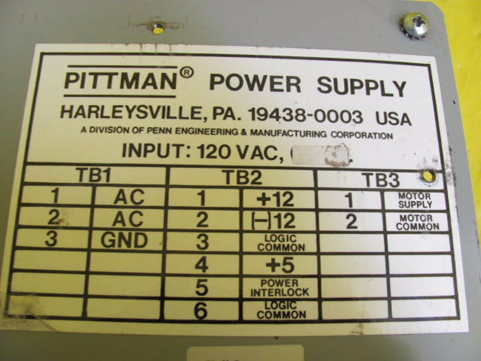 Pittman EMR-100k Power Supply Assembly CL-4-8 Used Working
