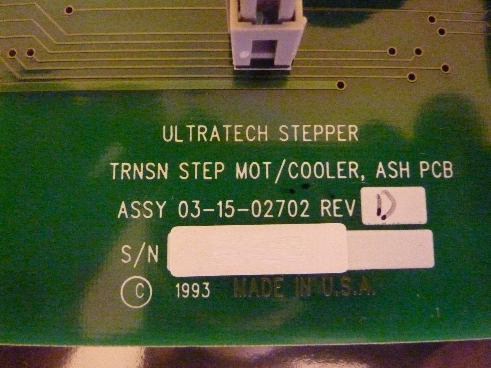 Ultratech Stepper 03-15-02702 Transition Step MOT/COOLER ASH PCB Card Rev D Used
