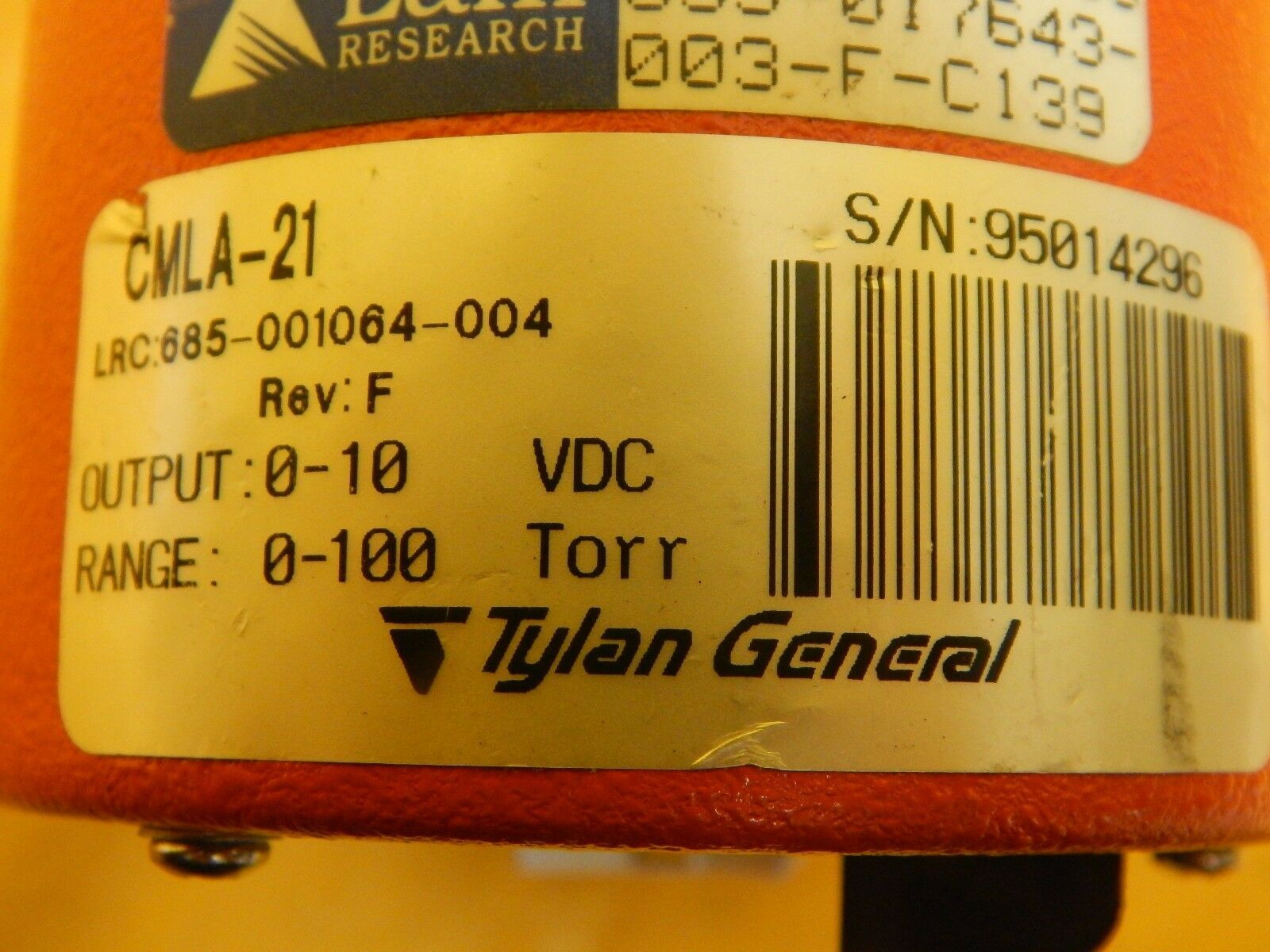 Tylan General CMLA-21 Baratron Lam 853-017643-003-F-C139 Used Tested Working