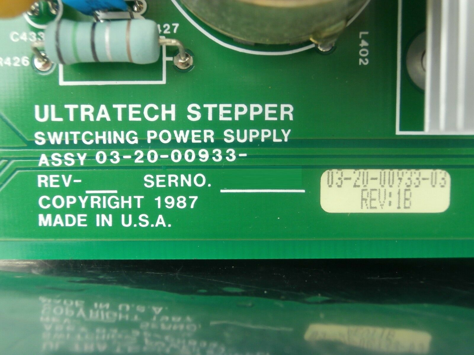 Ultratech Stepper 03-20-00933-03 Switching Power Supply Rev. 1B PCB Card 4700