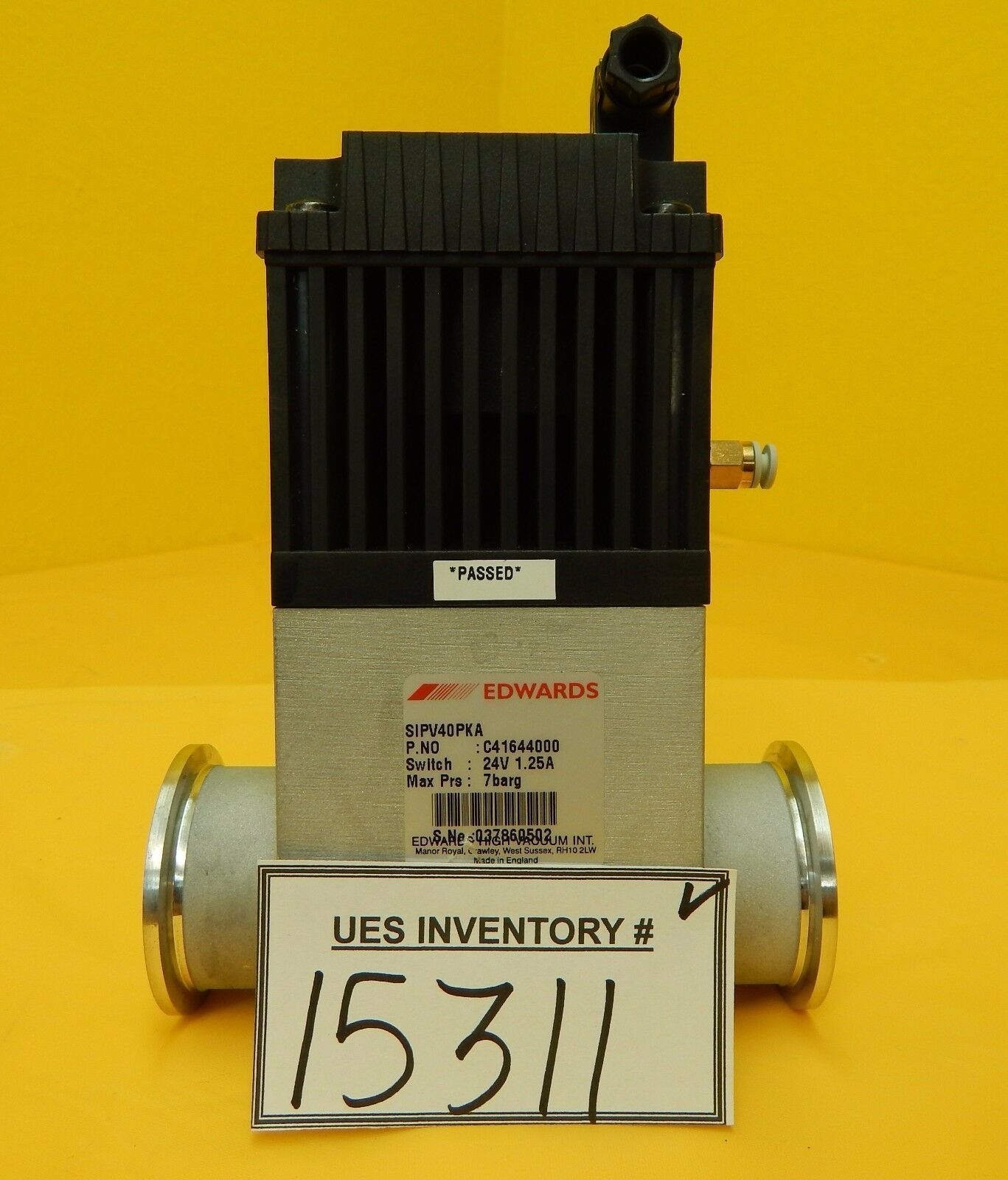 Edwards C41644000 Pneumatic Sealed Bellows Vacuum Valve SIPV40PKA Used Working