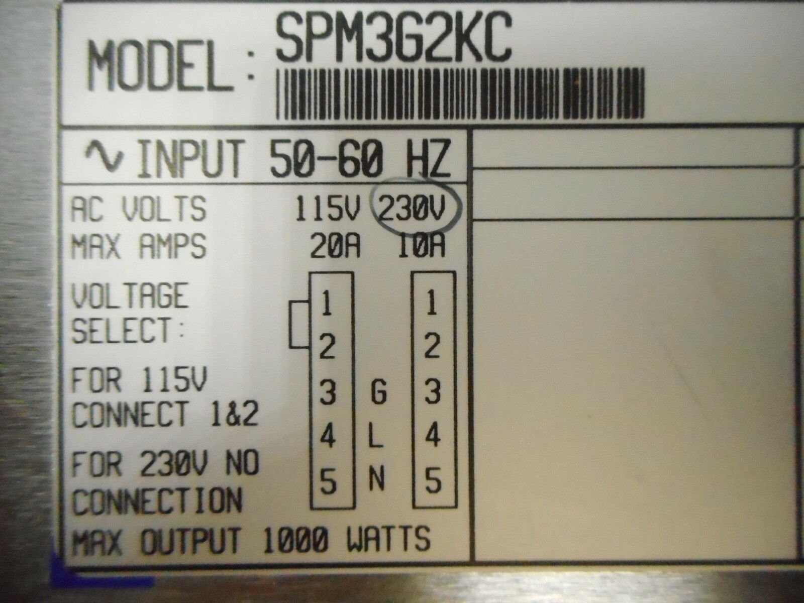 Power-One SPM362KC Power Supply 1kW Used Working