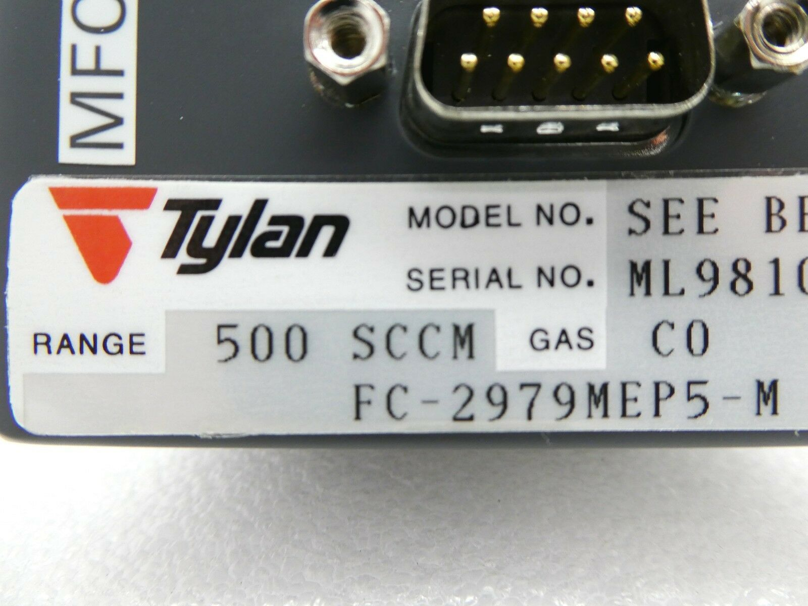 Tylan FC-2979MEP5-M MFC Mass Flow Controller 500 SCCM CO TEL Unity II Used