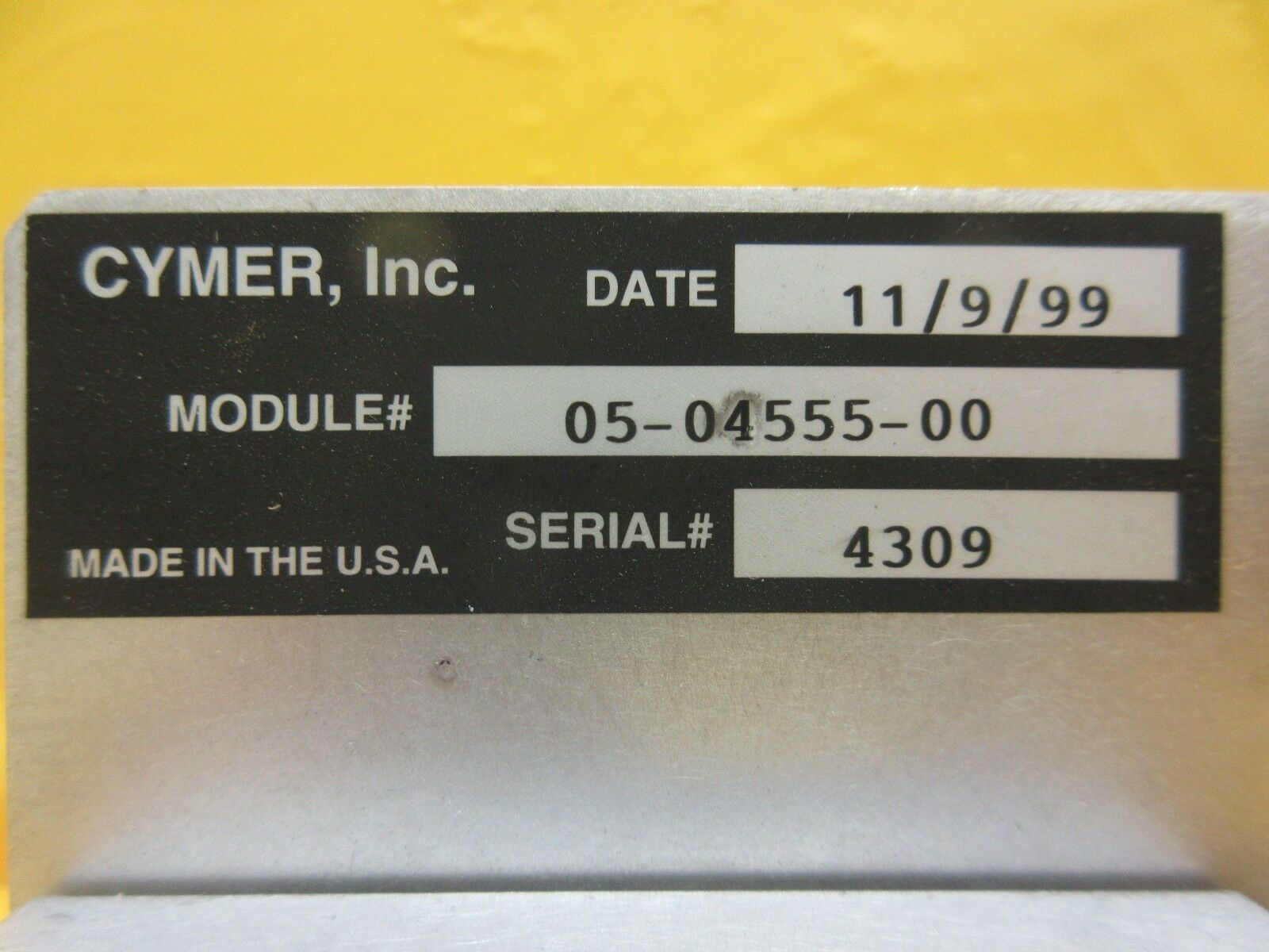 Cymer 05-04555-00 Chamber Adjustment Panel ELS-6400 Laser System Used Working