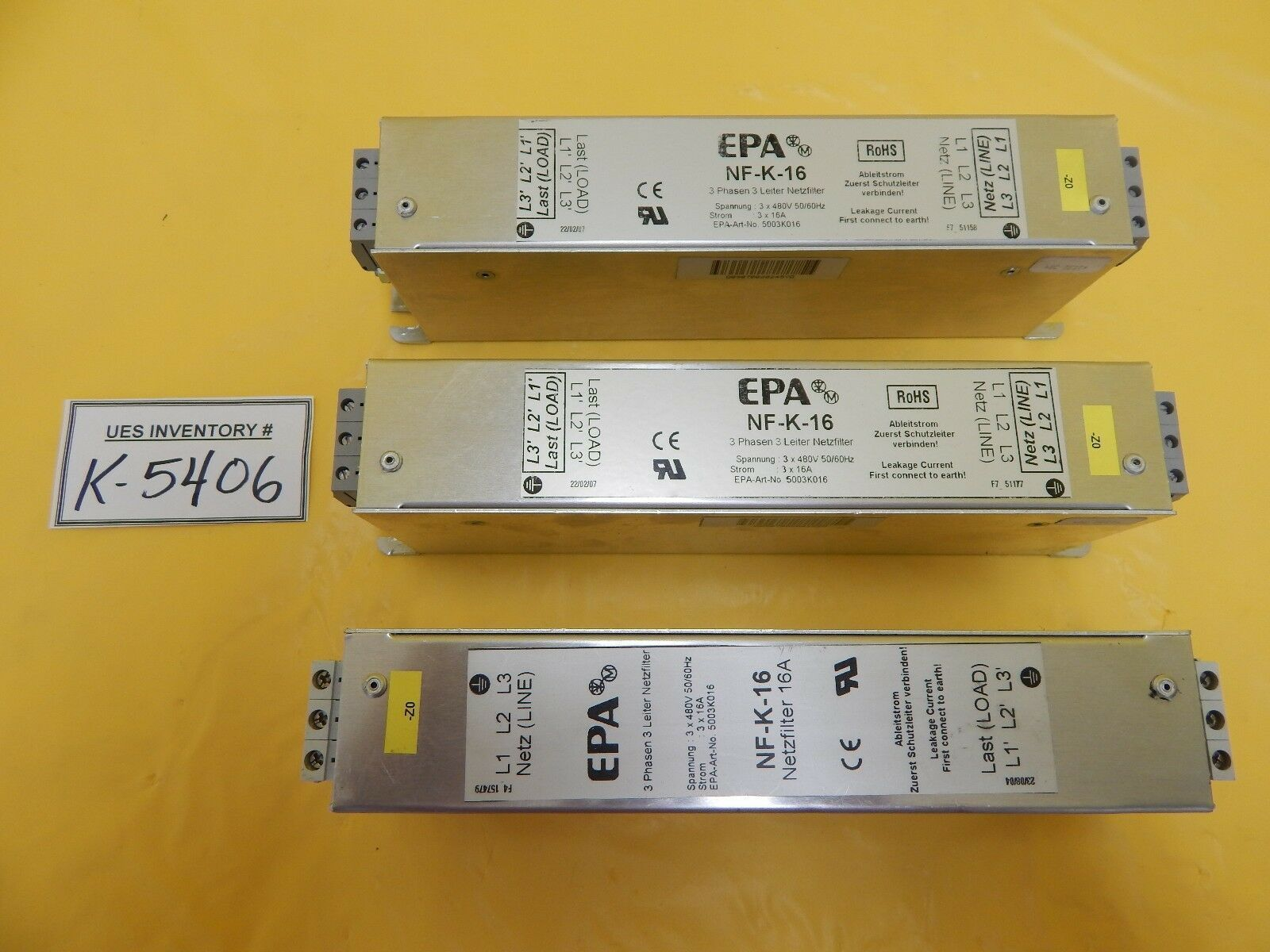 EPA NF-K-16 Three Phase Compact Filter Reseller Lot of 3 Used Working