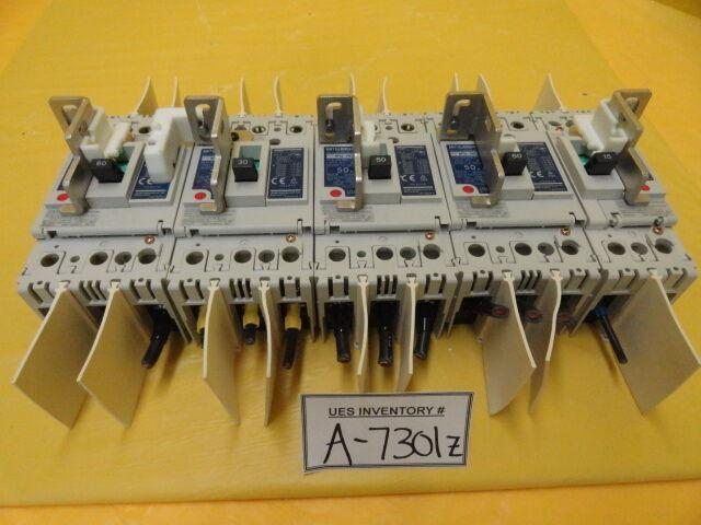 Mitsubishi NF50-SWU TEL Lithius Circuit Breaker Set 50A 30A 15A Lot of 5 Used