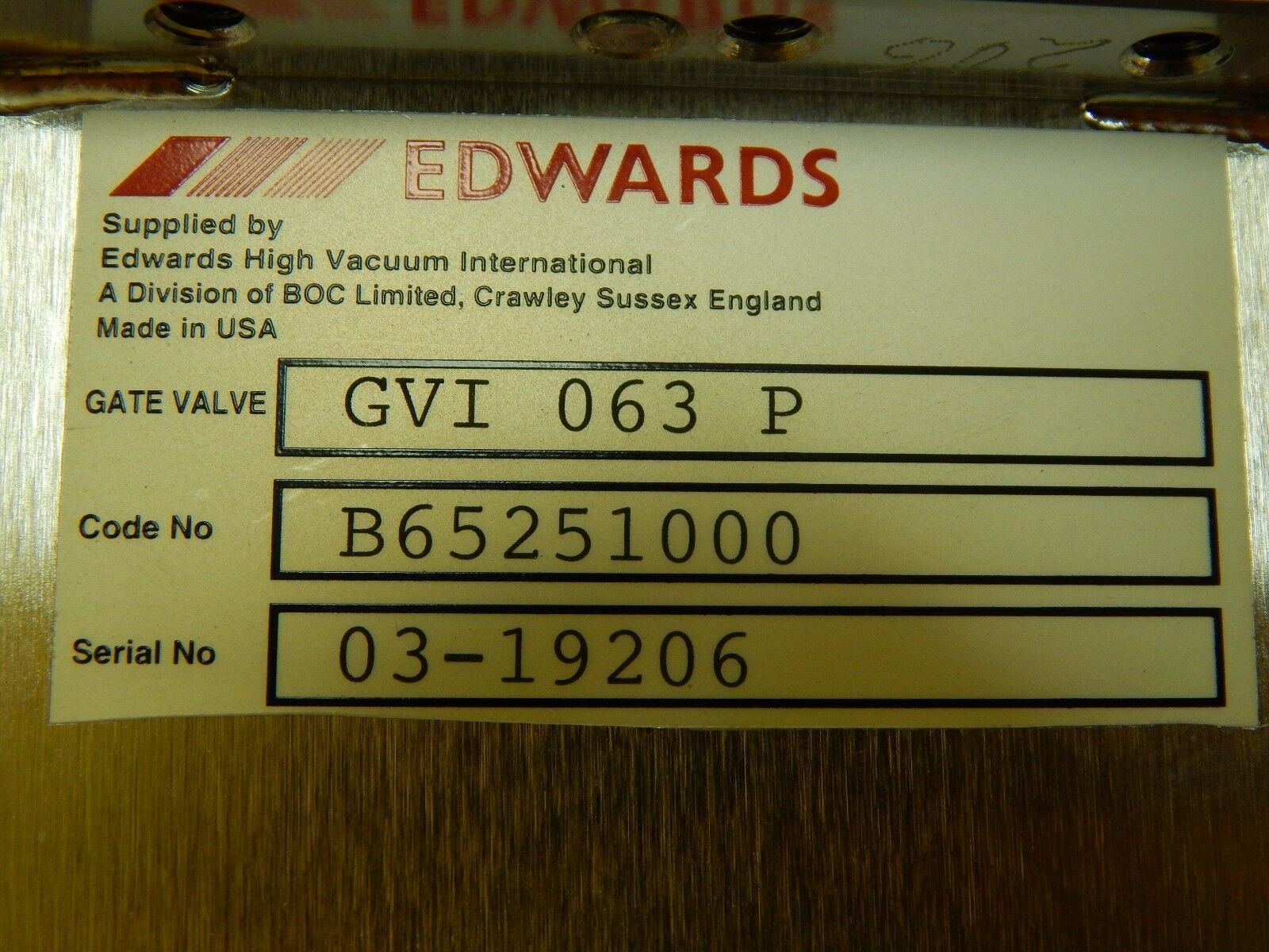 Edwards B65251000 Pneumatic Gate Valve GVI 063 P FEI Company 160-009450 Used