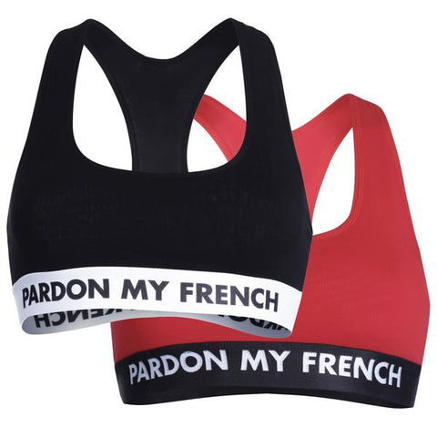 2 PACK BRA PARDON MY FRENCH - BLACK/RED
