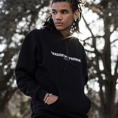 HOODIE PARIS EDITION BLACK WITH WHITE EMBROIDERY