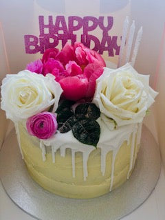 Birthday Cake With Fresh Flowers Fruit And Lindt Chocolate