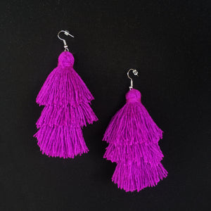 Leigh-Ann Layered Tassel Earring | Purple Passion