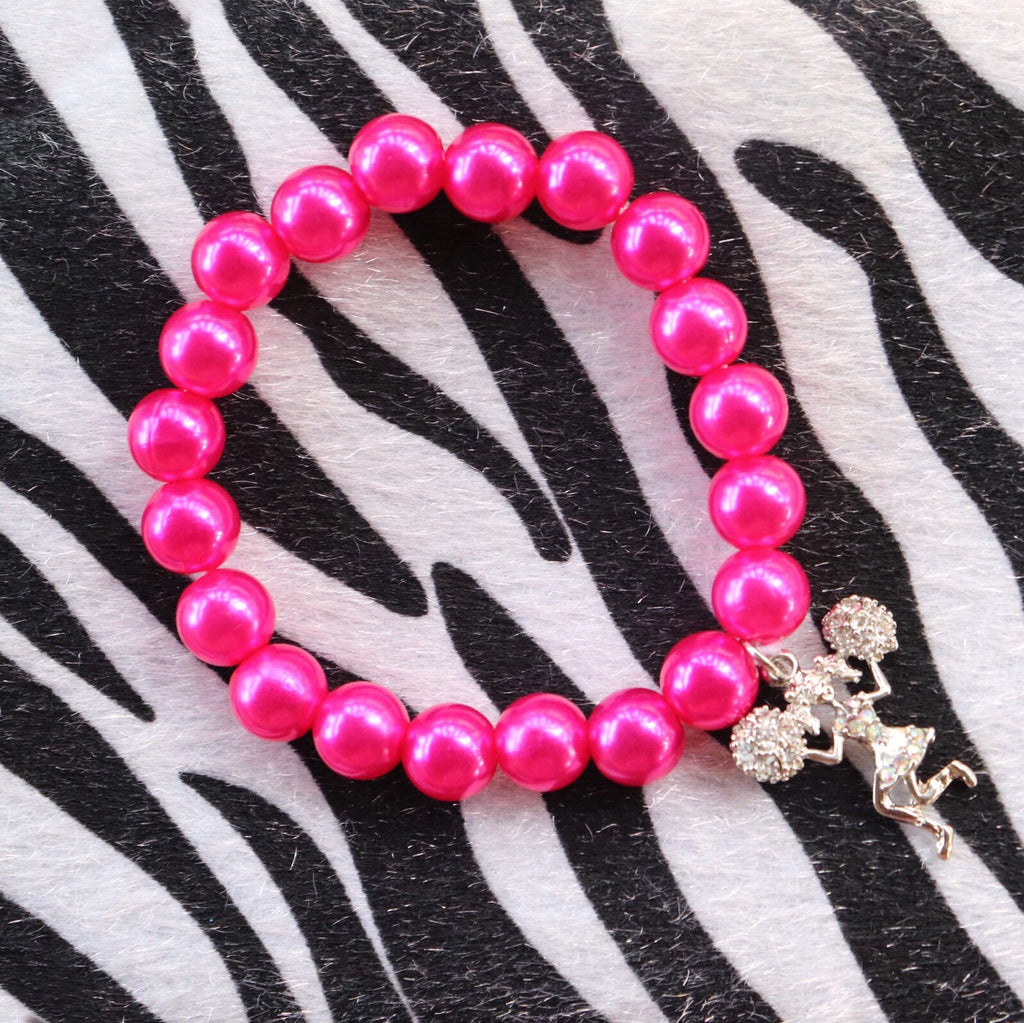Beaded Bracelet With Cheerleader Charm - Hot Pink