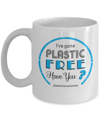 I'VE GONE PLASTIC FREE MUG WHITE WITH BLUE LOGO